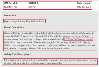 ▲ GM의 지난 2020년 11월 13일자 볼트리콜문서 - LG화학 오창공장에서 생산된 전기배터리가 완전충전 또는 완전충전에 가까운 상태에서 화재의 위험이 있으므로 리콜한다고 밝혔다.