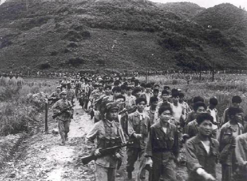 ▲ 한국전쟁 당시 북쪽으로 끌려 가는 국군포로들.
