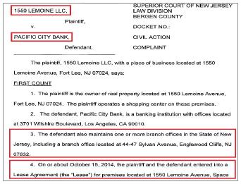 ▲ 뉴저지 포트리플라자의 랜로드는 지난해 11월 30일 뉴저지 버겐카운티법원에 퍼시픽시티은행을 상대로 소송을 제기, '임대료 9만여 달러를 지급하라'고 요구했다.