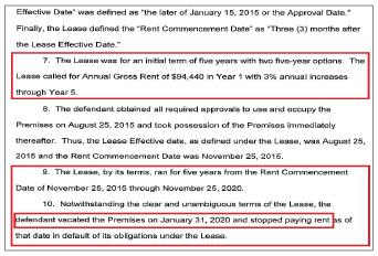 ▲ 포트리플라자 랜로드 측은 임대계약을 2014년 11월 15일 체결했음에도 불구하고, 2015년 11월 15일부터 2020년 11월 15일까지가 임대기간이라고 주장했다.