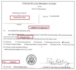 ▲ FBI는 지난 2월 23일 윤씨가 한국으로 도주하려한다는 사실을 포착, 메사추세츠연방법원에서 체포영장을 발급받은 것으로 확인됐다.