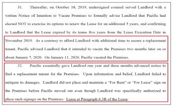 ▲ 퍼시픽시티은행은 '지난 2017년 랜로드로 부터 2019년 11월 임대계약이 만료된다는 서면통보를 받았고, 랜로드가 새 태넌트를 구할 수 있도록, 2개월간 이전을 연기했다'고 밝혔다.