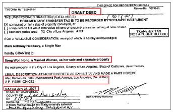 ▲ 홍송원씨는 2007년 7월 31일, 캘리포니아주의 한 부동산을 318만6천달러에 매입한 것으로 확인됐다.