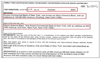 ▲ 우리아메리카은행은 지난해 10월 2일 뉴욕퀸즈 플러싱 39애비뉴 빌딩의 소유권을 한국상업은행에서 우리아메리카은행으로 변경한 것으로 확인됐다.