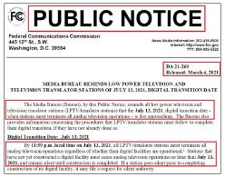 ▲ 연방통신위원회는 오는 7월 13일 밤 11시 59분부로 로파워TV스테이션의 아나로그 송출을 전면중단한다고 공고했다.