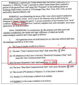 ▲ 한인식당인 비스트로익스체인지플레이스는 당초 15년 임대계약을 체결한뒤 6개월간 랜로드의 요구를 최대한 수용, 식당공사를 한뒤 2009년 5월 11일 임대기간을 20년으로 연장하는 수정계약을 체결했다.