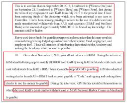 ▲ 김수경씨는 2017년 9월 키로프발레아카데미 회계책임자로 임명된뒤 2018년 9개월간 횡령을 하다 적발되자, 횡령액의 절반인'80만 달러를 횡령했다'는 자술서를 작성하고, 이를 갚겠다며 선수를 친 것으로 드러났다.