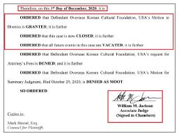 ▲워싱턴DC지방법원은 지난해 12월 2일 국외소재문화재재단의 공사비소송 기각요청을 전격 승인, 승소판결을 내렸다.