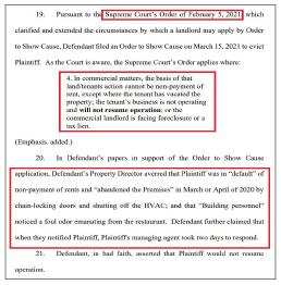 ▲ 뉴저지주 대법원은 지난 2월 15일 퇴거유예조치에도 불구하고 테넌트가 영업을 재개하지 않으면 퇴거시킬 수 있다고 판결했고, 랜로드는 이 판결을 근거로 한인업주가 식당을 포기했다며, 강제퇴거를 요구했다.