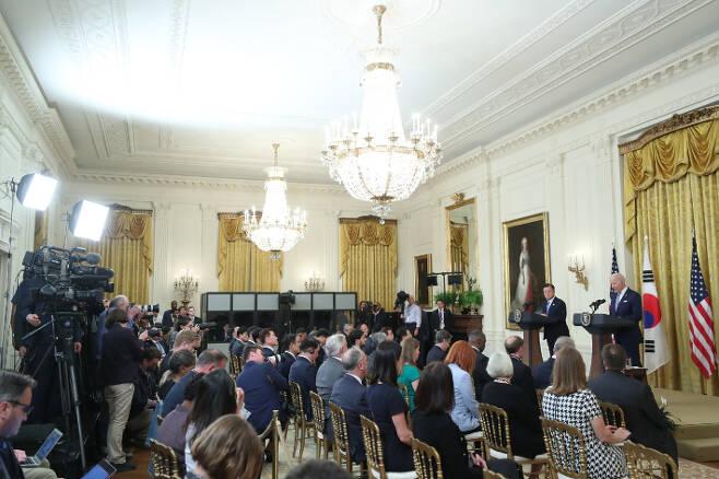 ▲ 백악관 이스트룸에서 공동기자 회견이 열리고 있다.