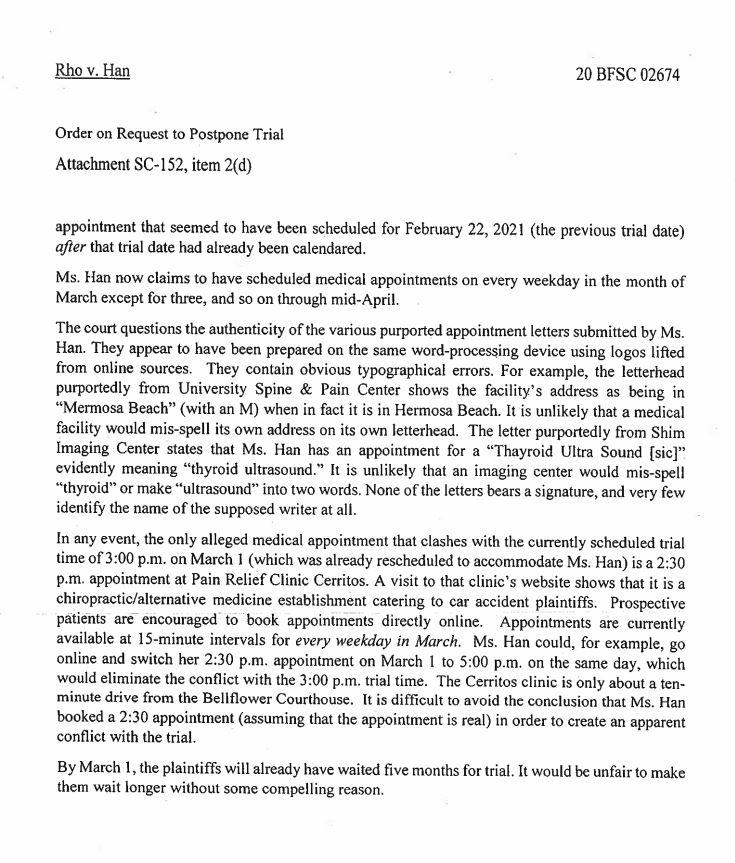 ▲ 법원이 사기 매니저의 위증 사실을 지적한 판사의 문건.