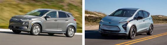 ▲왼쪽은 현대차가 LG전기차 배터리결함으로 8만2천대 리콜을 선언한 전기차 코나, 오른쪽은 GM 볼트승용차