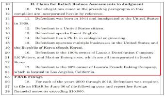 ▲미국정부는 지난 8월20일 LA거주 한인여성사업가 로라김씨를 상대로 캘리포니아중부연방법원에 해외계좌미신고혐의로 433만여달러 벌금납부소송을 제기했다.