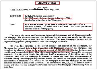 ▲SJD 유한회사는 지난 7월12일 맨해튼 부동산 매입을 위해 KEB하나은행 뉴욕지점에서 6천만 달러의 모기지대출을 받은 것으로 확인됐다.