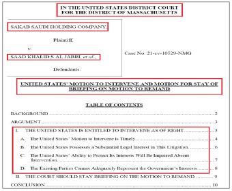 ▲미국정부는 지난 8월 3일 메사추세츠연방법원에 알자브리 재판을 진행할 경우 미국에 해를 끼친다며 재판잠정중단을 요청했다.