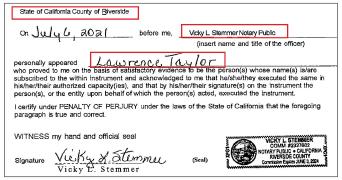 ▲SJD유한회사와 KEB하나은행간 모기지 계약서류에 따르면 SJD유한회사 공식서명권자로서 서명한 '로렌스 테일러'씨는 캘리포니아주 리버사이드카운티에서 서명한 것으로 확인됐다.
