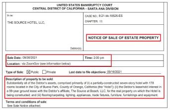 ▲더소스호텔은 지난 9일 '오는 9월 30일 오후 2시 화상회의를 통해 더소스홀 공개 경매를 실시한다'며 법원의 승인을 요청했다.