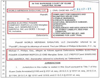 ▲ 월드메리디안사샤안은 지난 8월 13일 괌지방법원에 한전과 한전-LGCNS홀딩스, 삼성물산등을 상대로 자연자원훼손, 무단투기 등의 혐의로 징벌적 손해배상 소송을 제기했다.