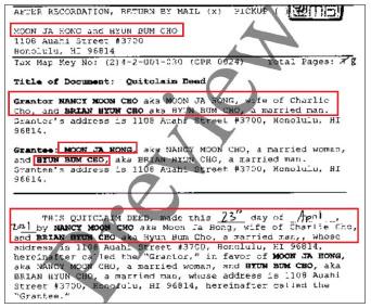 ▲ 낸시 문 조 및 브라이언 현 조는 지난 4월 23일 하와이주 마우이의 아이언우즈콘도 64호를 홍문자 및 조현범에게 무상증여한다는 계약서를 작성, 5월 19일 하와이주 등기소에 등기한 것으로 확인됐다.