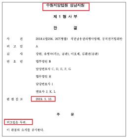 ▲ 이재명 공직선거법위반 1심 판결문